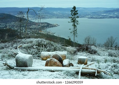 A place for making fire and barbeque on top of the local mountain with Drammen city fjord view in Norway.