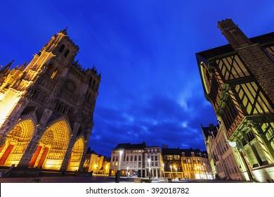 Place Notre-Dame in Amiens. Amiens, Nord-Pas-de-Calais-Picardy, France.