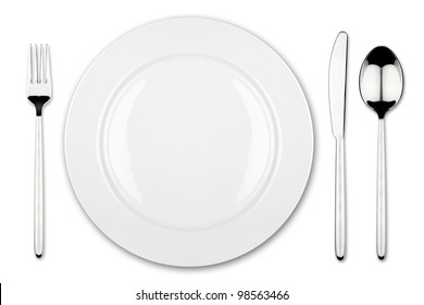 place setting with dish fork and knife
