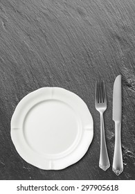 Place setting with knife and fork