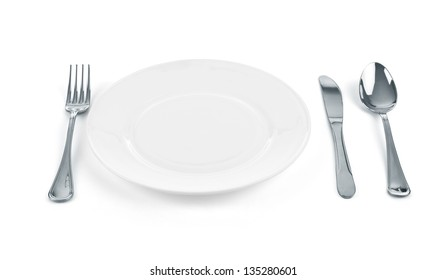 Place setting with plate, knife, fork and spoon on white