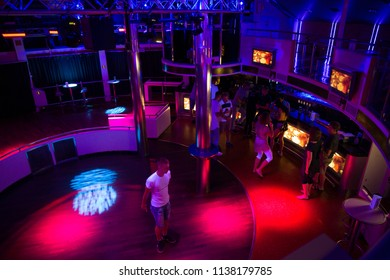 Place Ship Disco deck. Latvia.  Lights, disco music and peoples. Travel photo 2018.