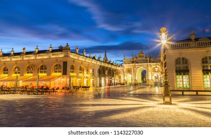 Place Stanislas, Nancy, France at night.
