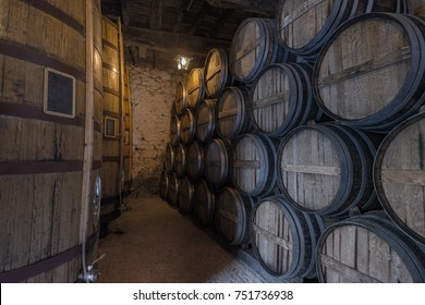 Place of storage of wine. Barrels of wine. Portugal, the Douro River valley.