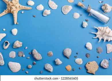 Place under your text on the background of seashells. View from above.