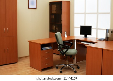 Place of work of the manager at modern office