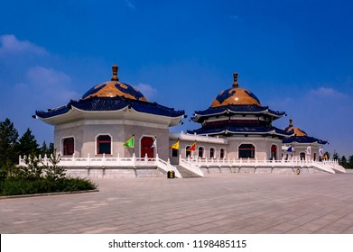 Place of worship for the Mongolian emperor: Genghis Khan mausoleum near Ordos, Inner Mongolia