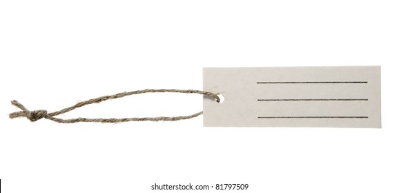 Place for writing made from grey paper label with brown string