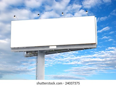 Place your text here - empty ad space in the sky with clouds