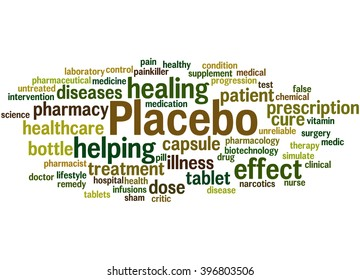 Placebo, word cloud concept on white background.