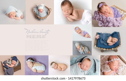 Placed in perfect order, collage of pictures of sleepy newborns, with text space