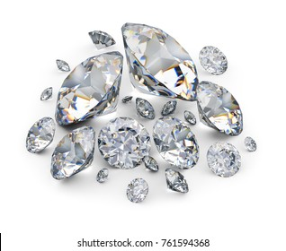Placer of diamonds. 3d image. White background.