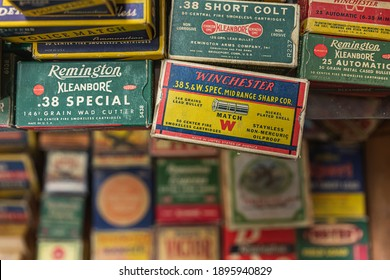 Placerville, USA - November 25, 2020: Vintage pistol bullet cartridge ammo boxes by Remington and Winchester at a gun shop, 38 caliber and 38 short
