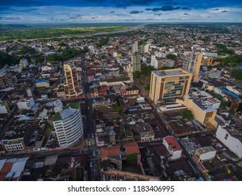 places with buildings in Villavicencio meta taken with drone