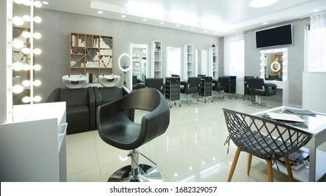 Places at hairdresser with professional equipment, interior