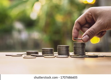 Placing the coin as a step Investment concepts and saving Growing business