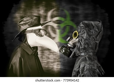 Plague doctor and man in gas mask. Biohazard concept.