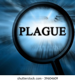 plague on a blue background with a magnifier