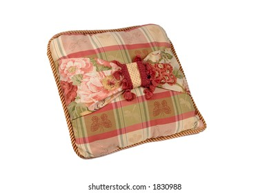 Plaid and Floral Pillow with Tassels