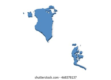 Plain 3D map of Bahrain on a white background
