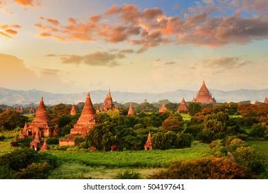 The plain of Bagan on during sunrise, Mandalay, Myanmar
