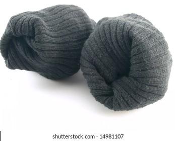 Plain Black Rolled Up Work Socks on White Background