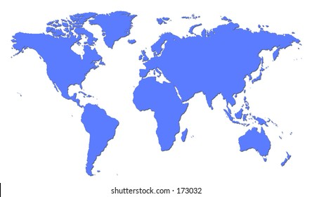 Plain Blue World Map