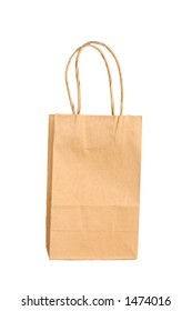 Plain brown bag, isolated on white, space for copy