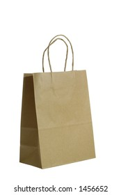 A plain brown paper gift bag isolated on white background