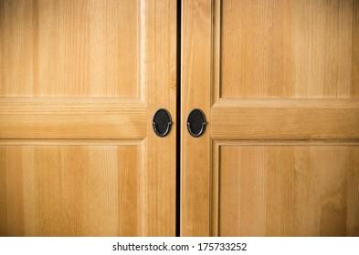Plain brown wooden doors