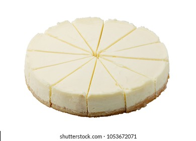 plain cheesecake on white background isolated, cuted in equal parts circle