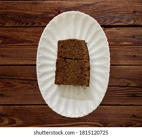 Plain Chocolate Cake double slice being served in a plate