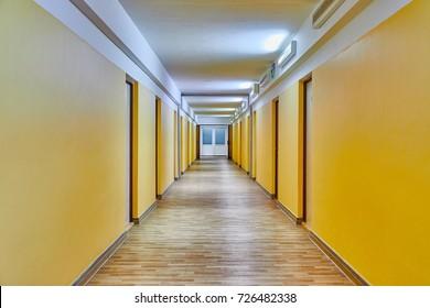 Plain corridor of a dormitory building