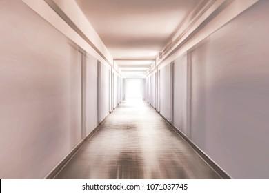 Plain corridor of a hospital motion blurred
