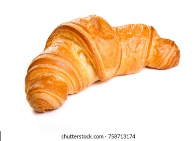 Plain croissant on white background