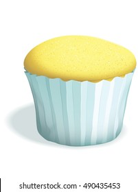 A plain cupcake without frosting,