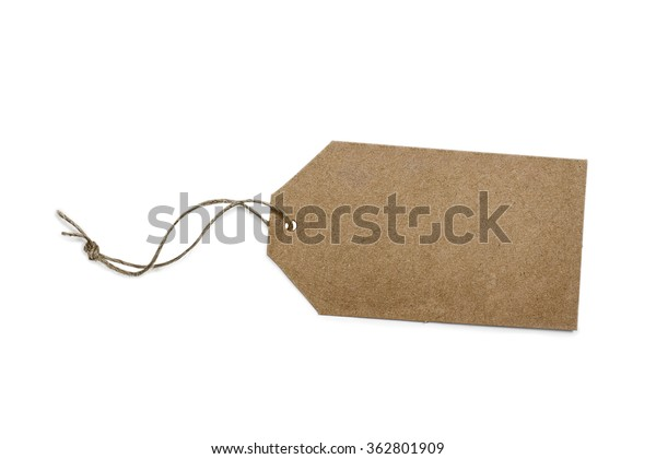 Plain gift or sales tag with rustic string isolated on white background with light shadow. Blank, with copy space. Clipping path included.