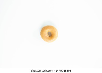 Plain Glazed Donut on White Background, Isolated Donut, Copy and Text Space