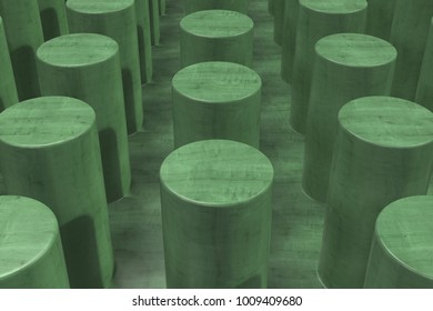 Plain green wooden surface with cylinders. Abstract background. 3D rendering illustration