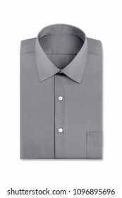 A plain grey folded mens dress shirt isolated over a white background