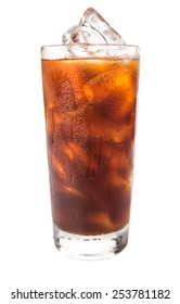 Plain ice coffee over white background