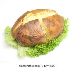 Plain jacket potato with lettuce