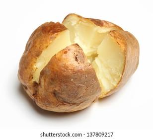 Plain jacket potato on white background.