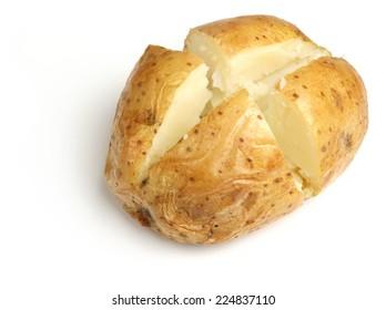 Plain jacket potato on white background