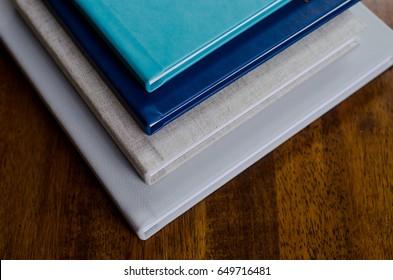Plain Layflat album book mockup on oak wood surface background