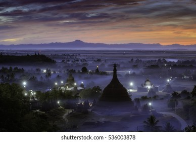 The plain of mrauk-u Ratanabon Paya on during sunset,Mrauk-u, Myanmar