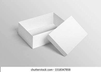 Plain open white shoebox mockup with lid on isolated background.