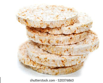 Plain rice cakes on white background