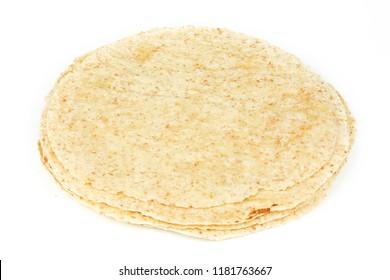 Plain tortilla wrap isolated on white background