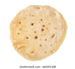 Plain Wheaten Flat Bread Isolated on White Background Top View. Fresh Homemade Flatbread also known as Pita Bread, Chapati, Naan or Tortilla with Clipping Path